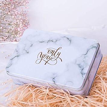 Linda Caja Decorativa Caja de Galletas de hojalata Cuadrada Caja de Regalo Grande de Caramelos de Boda (Blanco): Amazon.es: Juguetes y juegos