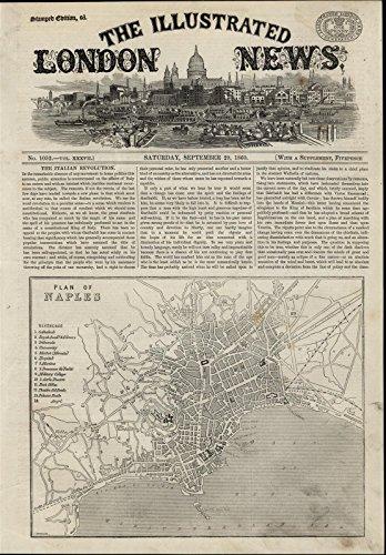 Naples Plan Map Mediterranean Sea Villas Citadel 1860 great antique Travel print