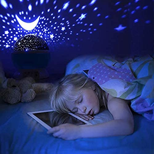 Desk Lamp 4 LEDs 8 Colors Changing with USB Cable Kids Star Night Light 360-Degree Rotating Star Projector Best for Children Baby Bedroom and Party Decorations
