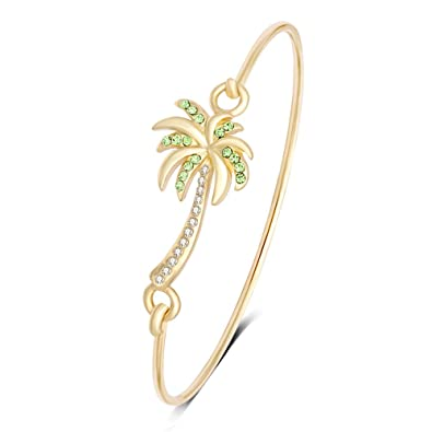 e1c7d4008 Amazon.com: MANZHEN Beach Jewelry Palm Tree Bangle Bracelet Summer Style  Hook Bangle (Gold): Jewelry