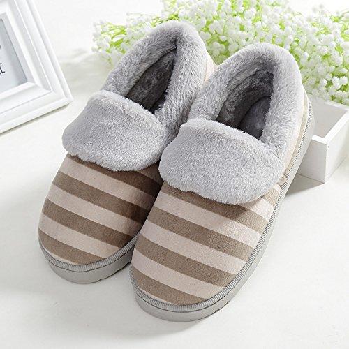 Y-Hui Chaussons en coton pour hommes chaussons dhiver chaud épais amateurs dameublement de maison Chaussures antidérapage hiver femelle mois,36-37 (digne des 35-36 pieds), Café
