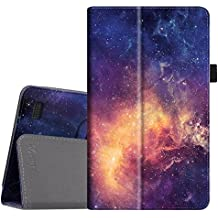 Fintie Folio Case for All-New Amazon Fire 7 Tablet (7th Generation, 2017 Release) - Slim Fit PU Leather Standing Protective Cover Auto Wake/Sleep, compatible with Fire 7 (5th Gen, 2015), Galaxy