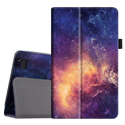 Fintie Folio Case for All-New Amazon Fire 7 Tablet (7th Generation, 2017 Release) - Slim Fit PU Leather Standing Protective Cover Auto Wake / Sleep, compatible with Fire 7 (5th Gen, 2015), Galaxy
