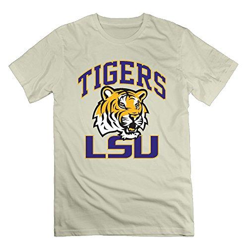 Men's LSU Tigers 100% Cotton O Neck T-Shirt Natural US Size XXL