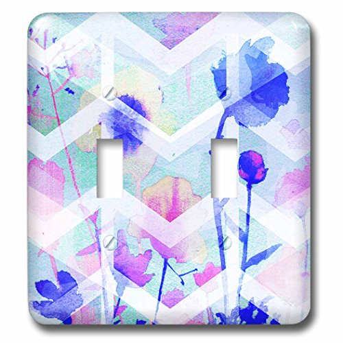 Blue Double Background - 3dRose Sarah Ashmun Design - Flowers - Colorful flowers with blue background and chevron stripe - Light Switch Covers - double toggle switch (lsp_280132_2)