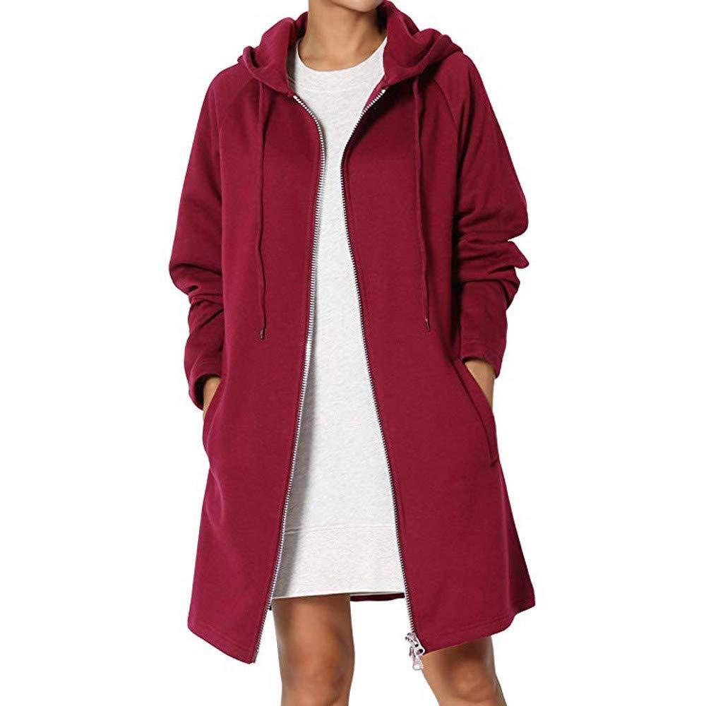 HULKAY Praka Jacket Women Upgrade Long Sleeve Pocket Hooded Sweatshirt Pullover Tops Zipper Sports Coat Less Bread(Wine,XL)