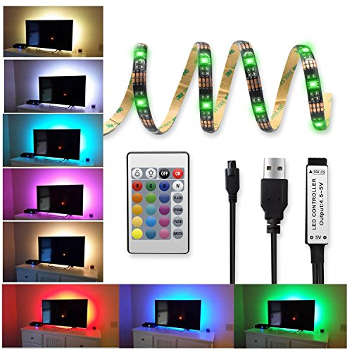20 Colors LED Strips Bias TV Backlight,RGB Lights with Upgraded Remote Control for HDTV, Flat Screen TV Accessories and Desktop PC Creating Warm Family Atmosphere