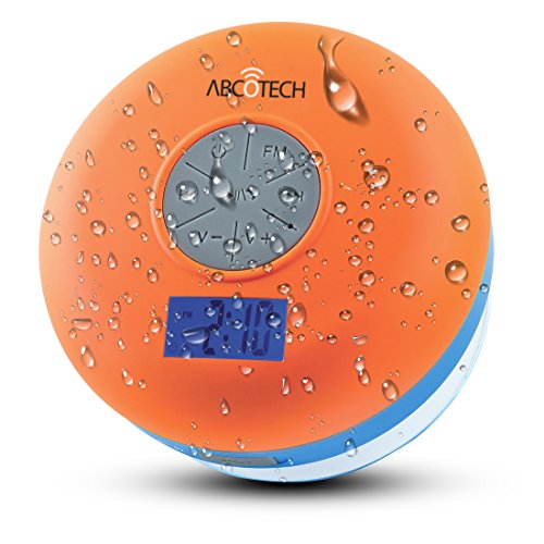 Bluetooth Shower Speaker – Waterproof, Wireless Portable Audio Hands-Free Speakerphone & FM Radio With Strong Big Suction Cup – Digital Screen, Clock, Rechargeable, Easy Controls