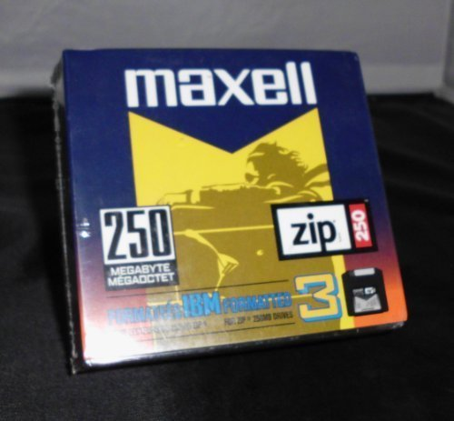 Maxell Zip Disk, 250MB, IBM Formatted, Pack Of 3 by Maxell