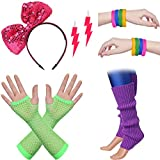 BABEYOND 80s Outfit Costume Accessories Neon Earrings Fishnet Gloves Leg Warmers Headband Bracelets (Set 6)
