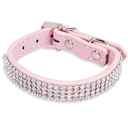 TiaoBug Bling 4 Rows Diamante Rhinestones Crystal PU Leather Dog Collar Adjustable (Pink)