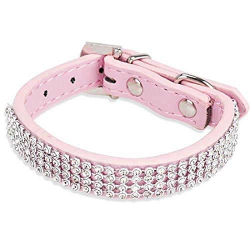 - TiaoBug Bling 4 Rows Diamante Rhinestones Crystal PU Leather Dog Collar Adjustable (Pink)
