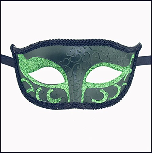 Luxury Mask Unisex Sparkle  Venetian Mask Mardi Gras  Green, One Size