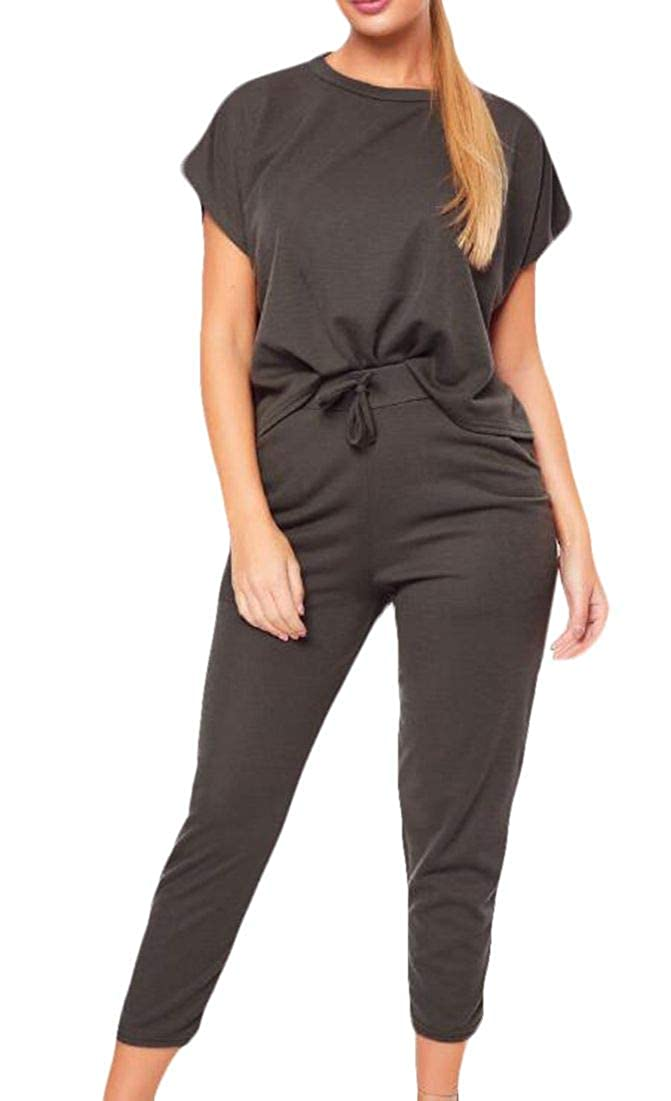 X-Future Womens Short Sleeve Crewneck Basic Pants Two Piece Tracksuit Outfit Set