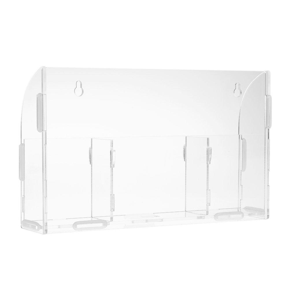 Docooler Acryl Fernbedienung Aufbewahrungs box Kleinigkeiten Halter Wand Lagerregal Container mit 3 Gitter f/ür Home Office