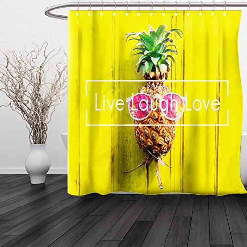 HAIXIA Shower Curtain Live Laugh Love Tropical Pineapple with Sunglasses on Yellow Wood Board Joyful Print - Sunglasses Dwayne