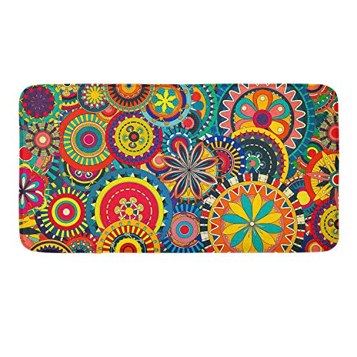 Psychedelic Trippy Flower Gear Memory Foam Bath Rugs Kitchen Mat Anti-Slip Bottom Doormat Rug Carpet, Home Decor Shower Mat Bathtub Rug - 16 x 24 -