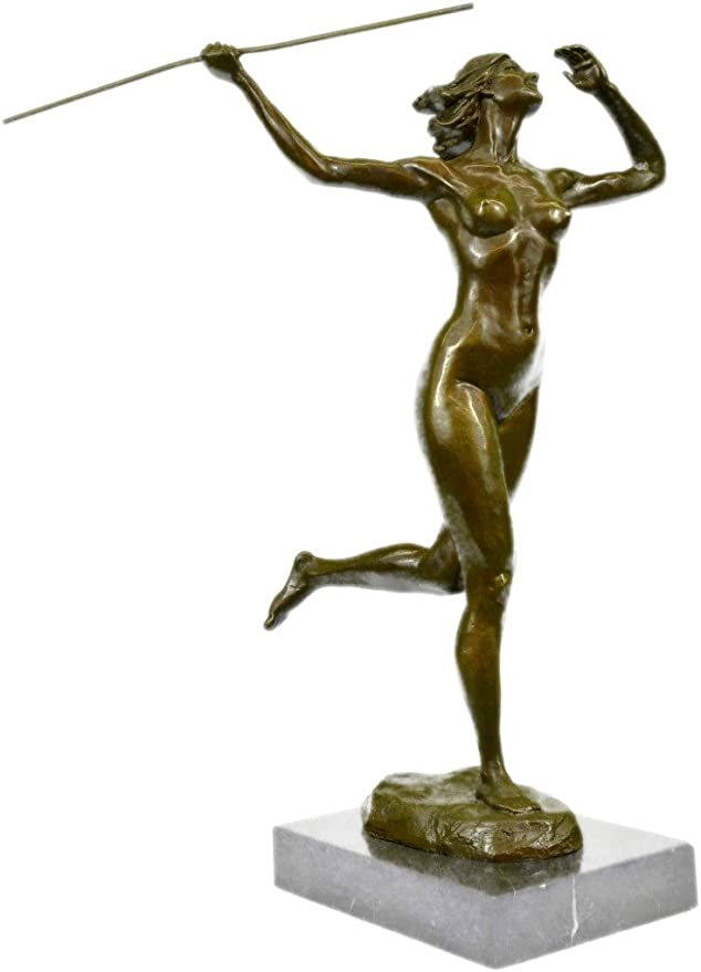 "Signed Bronze /""Amazon/"" Nude Woman With Spear Sculpture Statue Art Deco Figurine"