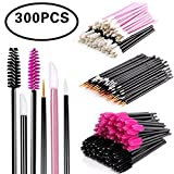 Disposable Makeup Applicator Mascara Wands & Lipstick Applicators & Eyeliner Brush 300PCS Daily Makeup Brushes Sets Kits 6 Styles