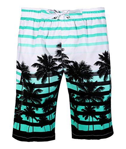 APTRO Men's Colorful Stripe and Coconut Tree Printing Beach Board Shorts 1525 Aqua M