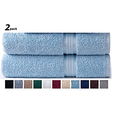 Cotton Craft Ultra Soft 2 Pack Oversized Extra Large Bath Sheet 35x70 Light Blue weighs 33 Ounces - 100% Pure Ringspun Cotton - Luxurious Rayon trim - Ideal for everyday use - Easy care machine wash
