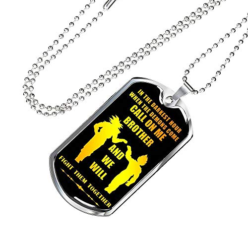 Call On Me Brother Personalized My Brother Dog Tag Necklace Chain - Dragon Ball Super Son Goku & Vegeta, Friends Birthday Gifts Ideas for Men Boys