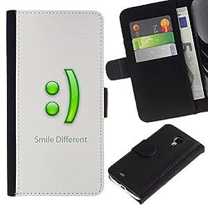 UNIQCASE - Samsung Galaxy S4 Mini i9190 MINI VERSION! - Smile Different - Cuero PU Delgado caso cubierta Shell Armor Funda Case Cover