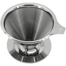 Pour Over Coffee Dripper - Stainless Steel Coffee Maker - Paperless & Reusable - Includes Gift Box - Single Use / Single Layer