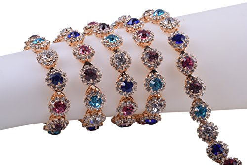 KAOYOO 1 Yard Flower Pattern Rhinestone Chain Trim, Inlaid with Rainbow Crystal Rhinestone and Golden Brass Base Prong Chain for Sewing Craft,Wedding Decoration or as a Present for Your Friends