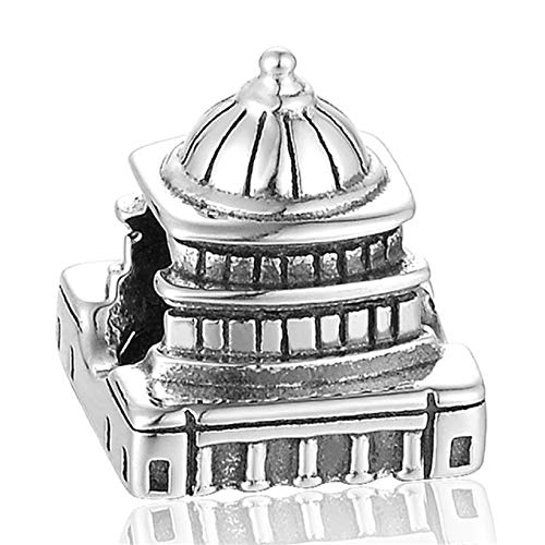 EVESCITY Limited Edition Multi Styles #2 925 Sterling Silver Bead for Charms Bracelets ♥ Best Jewelry Gifts for Her ♥ (White House Washington DC Capitol)