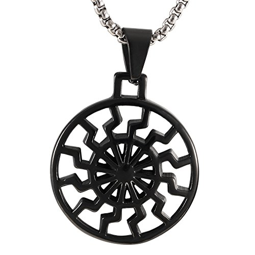 Stainless Steel Hollow out Engine Sun Pattern Celtic Vintage Wheel Occult Symbol Pendant Necklace For mens,Black (Sun Wheel Pendant)