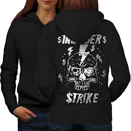 [Skull Thunder Strike Lightning Women M Hoodie Back | Wellcoda] (Thunder Lightning Costume)