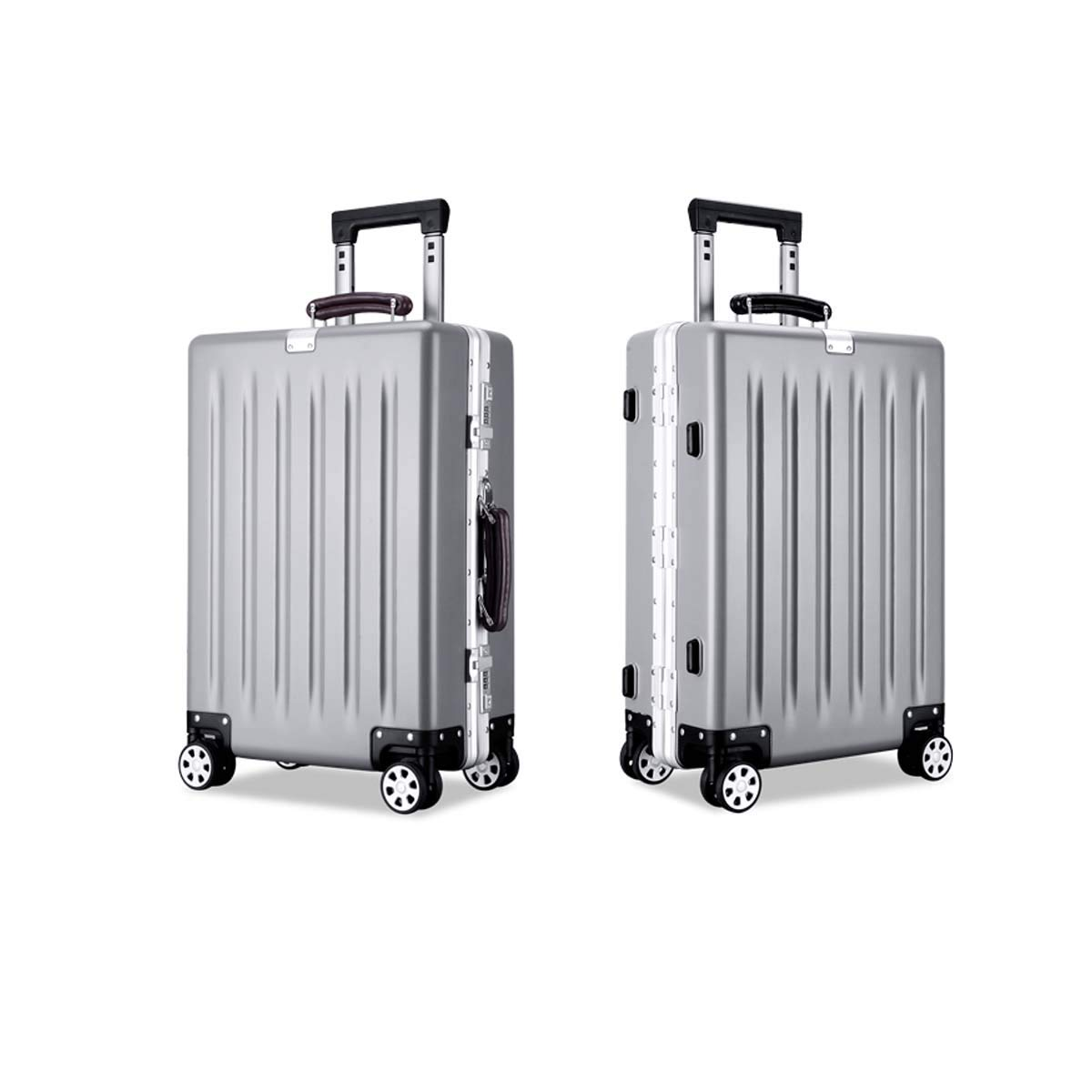 Bahaowenjuguan キャリングスーツケース ハードケース 回転スーツケース トロリーケース トラベルオーガナイザー シンプル 21/25インチ ブラック グレー サイズ 25 B07KV16YN3