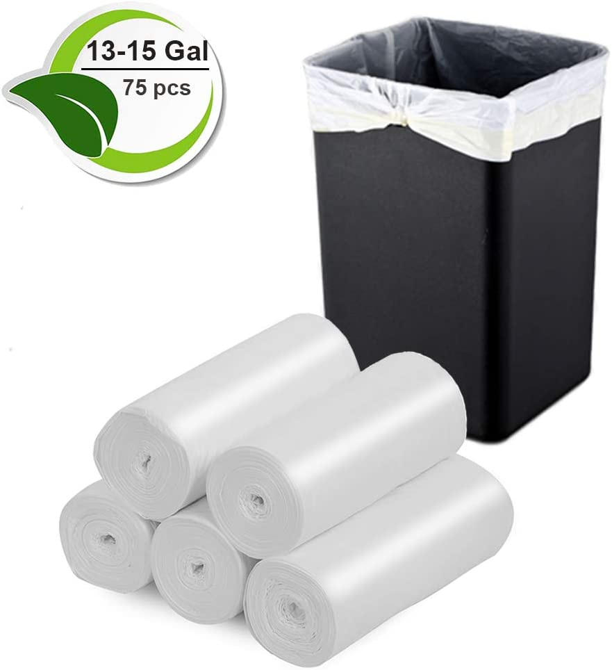 13-15 Gallon Trash Bags Biodegradable Trash Bags Compostable Garbage Bags Recycling Unscented Tall Kitchen Trash Bags for Kitchen, Yard, Lawn,Office(75 Counts, White)