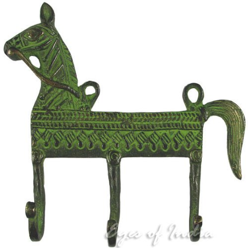 10 Brass Horse Decorative Animal Wall Hooks Hangers Coat Rack Bronze Antique Bohemian Boho Indian Eyes of India