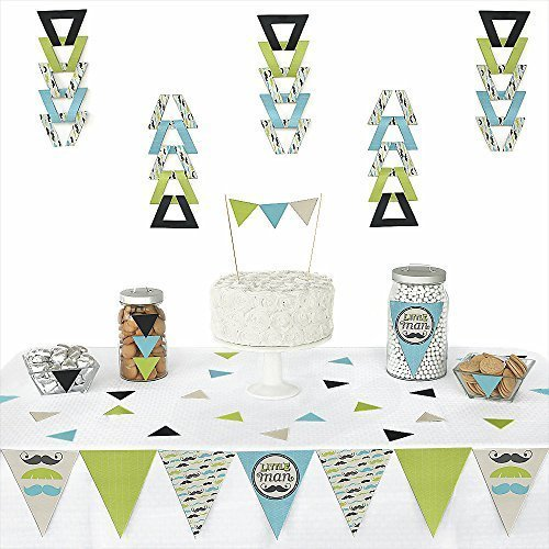 Dashing Little Man Mustache Party - Triangle Baby Shower or Birthday Party Decoration Kit - 72 Pieces (Mustache Baby Shower Supplies)