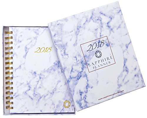 2018 Planner - monthly - weekly - daily Agenda Calendar by SAPPHIRE ACCESSORIES - High-Quality Hardcover - Thick Pages - Gift Box - Pocket - 14 Months: Dec 2017-Jan 2019 - Perfect Holiday Gift for women..
