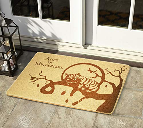 Alice in Wonderland Cheshire Cat 24x16 inch Doormat Outdoor Indoor Entry Rubber Front Porch Hello Mat Home Decor Wedding Anniversary Housewarming New Year Gift for Him Her Sibling Children Teen Youth ()