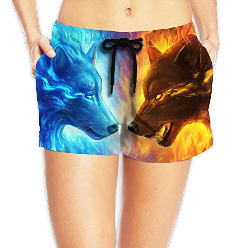 Ice Fire Wolf Custom Women Beach Pocket Shorts Pants Household Boardshort (Fire And Ice Couples Costume)