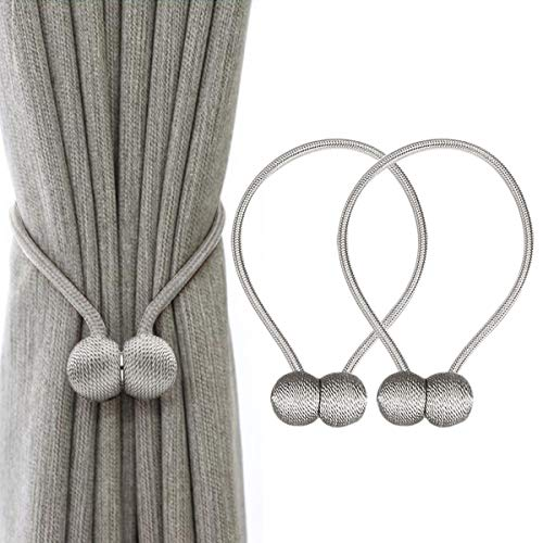 Window Tie Backs - IHClink Window Curtain Tiebacks Clips VS Strong Magnetic Tie Band Home Office Decorative Drapes Weave Holdbacks Holders European Style 1 Pair