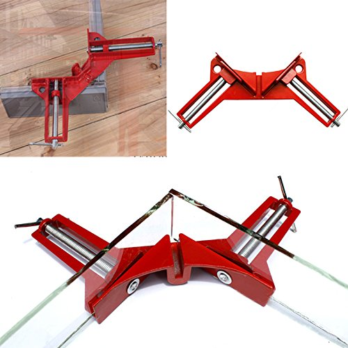 4 Pcs 90 Degree Right Angle Miter Corner Clamp 3'' Capacity Picture Frame Jig Red (4 Pcs)