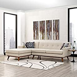 Farmhouse Living Room Furniture Modway Engage Mid-Century Modern Upholstered Fabric Left-Facing Sectional Sofa in Beige farmhouse sofas and couches