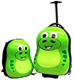 """CUTIES AND PALS KIDS BOY GIRL TRAVEL 17"""" TROLLEY LUGGAGE + 13"""" BACKPACK - DINOSAUR"""