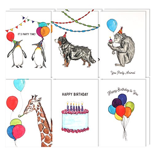 Assorted Animal Happy Birthday Cards: 36 Pack - 4 x 6 Blank Inside Bulk Box Set with Envelopes - Watercolor Adult Kids Bday Greeting Card for Every & All Occasion: Boxed Assortment of Cute White Notes (Assortment Pack Sign)