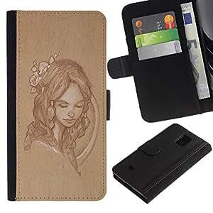 All Phone Most Case / Oferta Especial Cáscara Funda de cuero Monedero Cubierta de proteccion Caso / Wallet Case for Samsung Galaxy S5 Mini, SM-G800 // chica mujer retrato retro rústico vendimia
