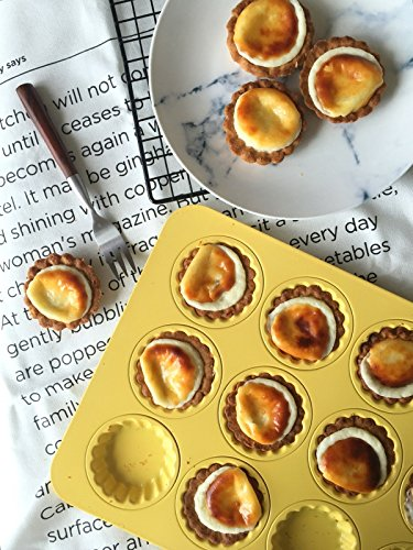 Astra Gourmet 12-Cavity Carbon Steel Mini Fluted Tart Pan/Quiche Pan/Pie Pan/Baking Tray with Matching Plastic Cutter Ring Stamp, Yellow by Astra Gourmet (Image #1)