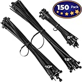 zip ties 12 uv - Pro-Grade, Black Zip Ties Multisize Set of 150. High-Strength Cable Tie Pack Has 50x 6 10 12 inch UV-Resistant Nylon Fasteners. Durable Wraps For Storage, Organization and Wire Management.