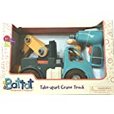 Battat Vroom!Transport Toy Take-Apart Crane Truck measures 11.25 inches L x 12.0 inches H x 5.25 inches W, 34 pieces includes 30 Vehicle Parts,1 Working Drill,3 Different Bits for 3 years and above