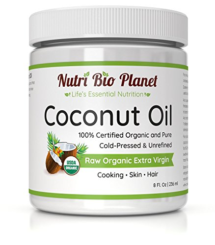 NutriBioPlanet Raw Organic Extra Virgin Coconut Oil, Unrefined, 8 Ounces ()