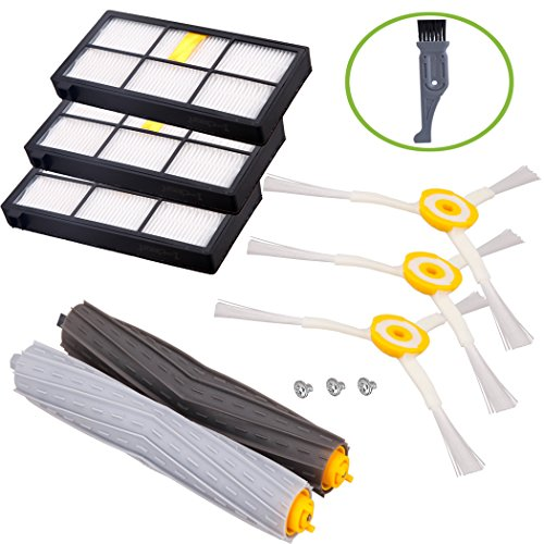 I clean For iRobot Roomba 980 960 880 860 805 870 Parts, iRobot Roomba Vacuum Cleaner Replenishment Filter&Brush Kits 800&900 Series (Hepa Filters, Side Brushes, Tangle-Free Debris Extractor)
